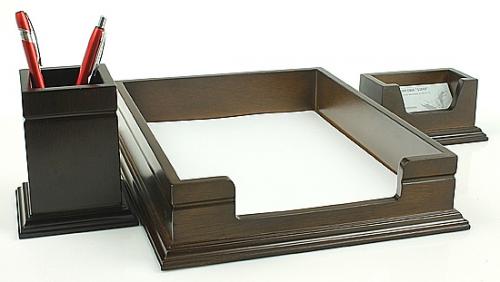 Funkcjonalny przybornik na biurko 3 el. brązowy 4063